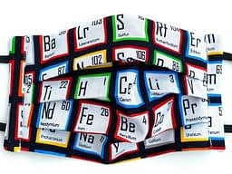 Periodic Table Mask Closeup | closeup of white fabric with the periodic table pattern randomised and tiled