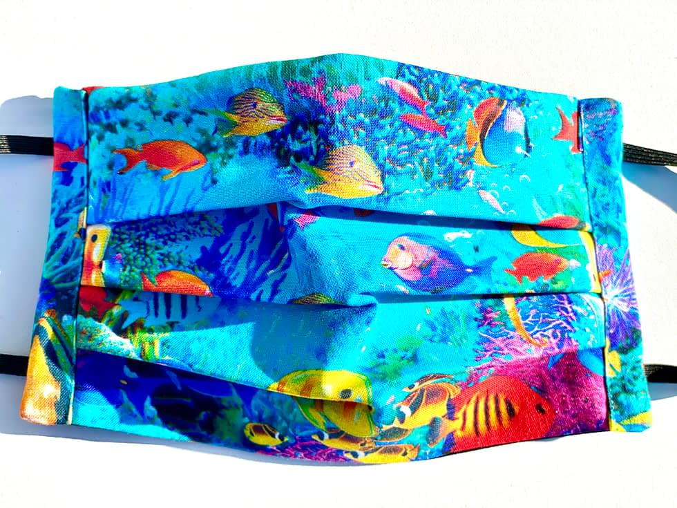 Tropical Fish Mask | Blue underwater background with colourful tropical fish