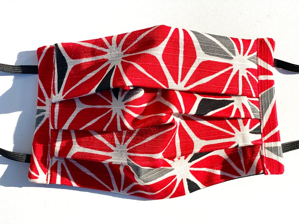 Geo Flowers Mask | Red, white and black geometric flower pattern