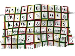 Mock up of mask with White fabric with periodic table style pattern containing elements spelling out Christmas themed words