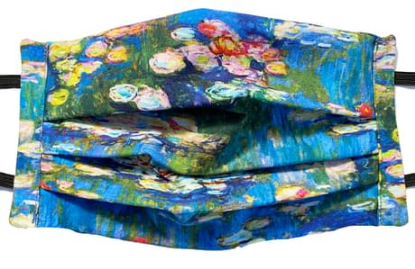 Blue fabric with multicoloured waterlillies on a pond from the painting by Monet
