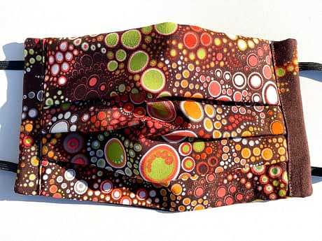 Circles in Circles (Autumn) Mask | Motif of circles with brown and orange autumnal colour scheme