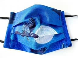 Ravens in Moonlight Closeup | closeup of dark blue fabric mask with illustrations of ravens and the moon