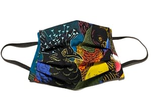 Black fabric mask with colourful large birds pattern