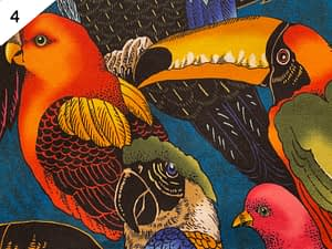 Black fabric with colourful large birds pattern