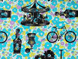 Turquoise and yellow flower fabric with black imprints of vintage stamps in pattern of cycles bottles and merry go round