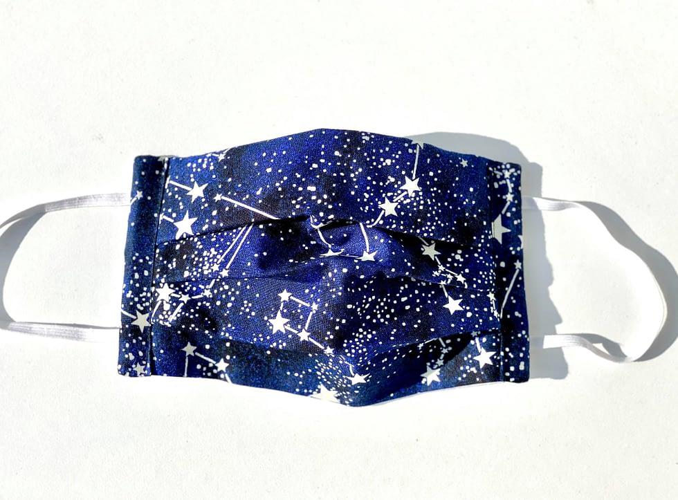 Glow in the Dark Constellations Mask | dark blue fabric with glow in the dark realistic constellations and background stars