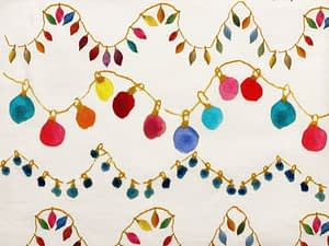 Light coloured fabric with strings of multicoloured party lights
