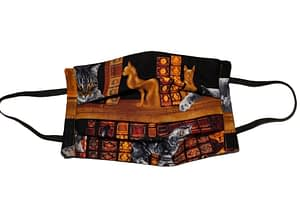 Black fabric mask longshot with bookshelf and cats playing and sleeping pattern