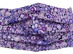 Purple fabric with geodes pattern mask closeup
