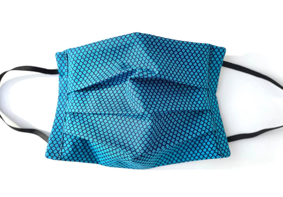 Tetris Mask | turquoise and navy tiled fabric mask