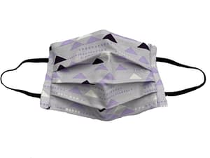 Lilac fabric with white, purple and black triangle shapes pattern mask longshot