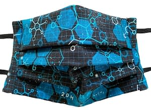Black fabric mask with pattern of molecules and chemical names