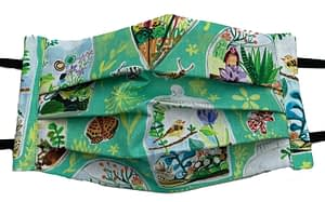Terrarium patterned fabric mask closeup
