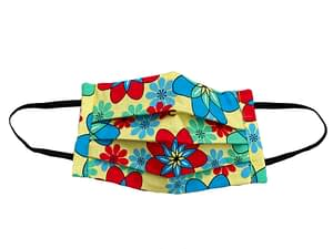Yellow fabric with red, blue and turquoise flower shapes that resemble atomic symbols mask longshot