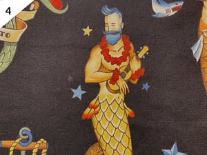 Black fabric with pattern of bearded merman playing a yukele