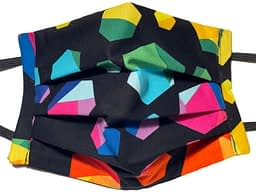 Black fabric with colourful 3 dimensional hexagons pattern