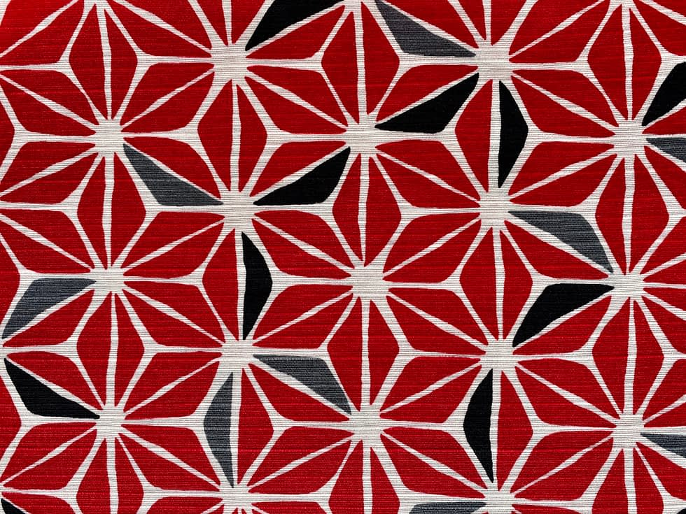 Geo Flowers Fabric | Red, white and black geometric flower pattern