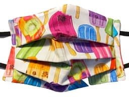 White fabric with multicoloured ice lollies pattern