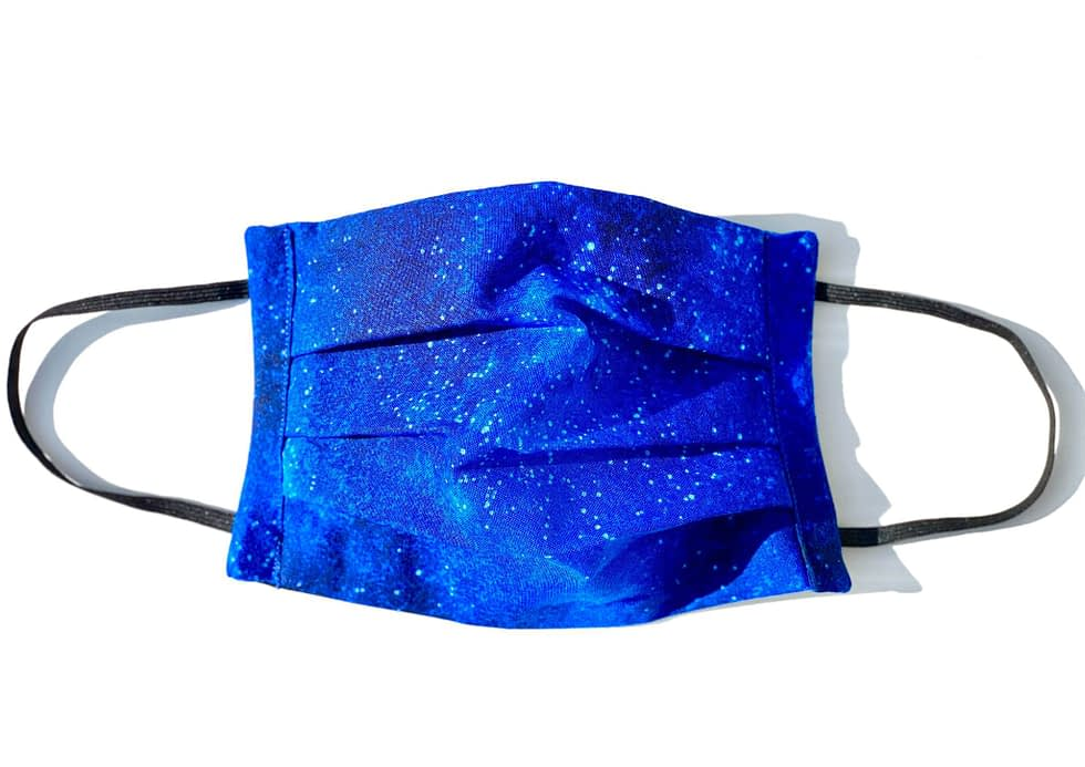Starry Night Mask   dark blue fabric with illustrated stars and lighter blues variation
