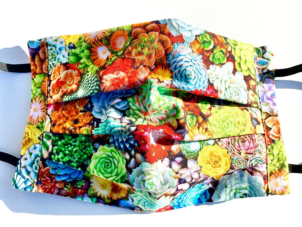 Cacti Mask | Face mask with fabric pattern with a variety of colourful succulents