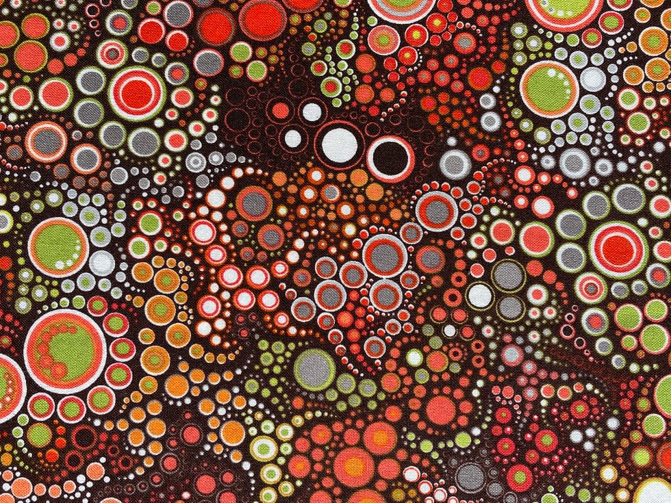 Circles in Circles (Autumn) Fabric | Motif of circles with brown and orange autumnal colour scheme