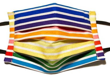 Rainbow coloured striped fabric mask