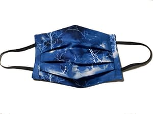 Dark blue and black fabric with lightning flashes pattern