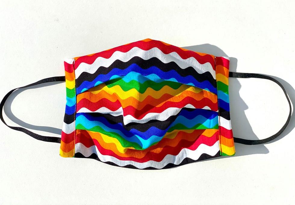 Rainbow Ric Rac Mask | multicoloured fabric mask in wavy ric rac style lines