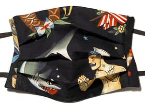 Black fabric mask with pattern of mermen, sharks and tattoo design